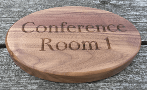 Solid Black American Walnut Conference room sign for Hotels, Offices, Workplaces