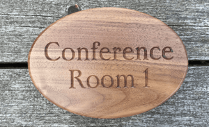 Conference Room Hospitality Solid Walnut Oval Sign