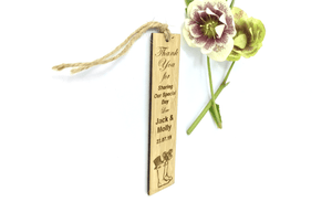 Wedding Wellington Thank You Keepsake Bookmarks Made From Bamboo