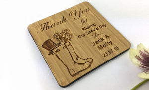 Wellies Marriage Celebration Keepsake Wellington Solid Bamboo Drink Coaster