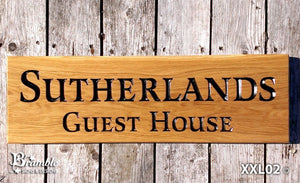 House Sign - Extra Extra Large - 720 x 220mm - Bramble Signs Engraved Wall Mounted & Freestanding Oak House Signs, Plaques, Nameplates and Wooden Gifts FONT: LATIENNE
