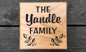 Yandle Family 150x150mm small square house sign made from solid oak FONT: ARABBRU & BROPHY SCRIPT