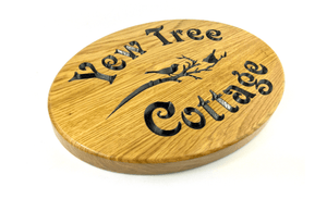 Yew Tree Cottage 35x25cm Solid Oak Prime grade House Signs