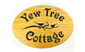 yew tree cottage solid oak oval house sign 350x250