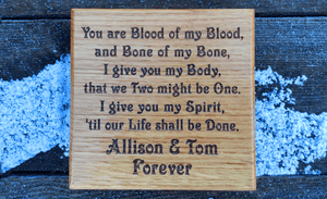 Love Poem Laser Engraved On Small Square Wooden House Plaque FONT: VICTORIAN