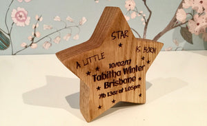 Beautifully crafted Personalised solid Oak Birth star