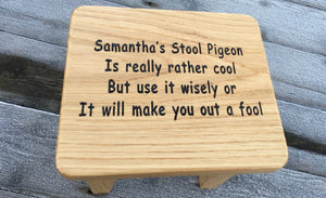 Solid Oak Engraved Child's Foot Step Stool Traditional Milking Stool