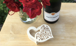 Heart Shaped Ring Box Personalised With Bride And Grooms Names