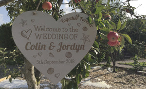 Bride And Groom Sign Hanging Up Symbol Of Love