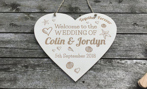 Hanging Heart Sign Made For Wedding Day Bride And Groom