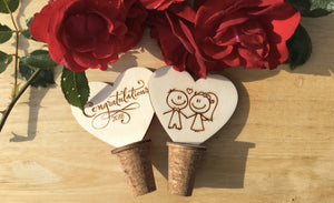 Bespoke Personalised Handmade Bottle Stopper Corks For Couples Marriage Congratulations Bride Groom Ideal For Keeping Your Wine Fresh