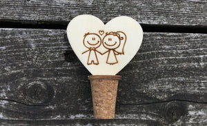 Bride Groom Bottle Stopper Cork Homemade Bespoke For Keeping Wine Fresh