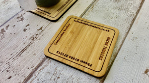 Laser Engraved Bamboo Drinks Coasters For Buissnes