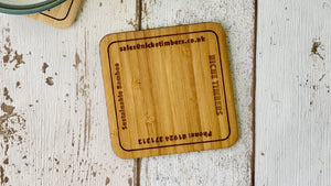 Personalised Corporate Bamboo Drinks Coasters