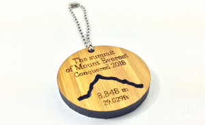 Mount Everest Commemoration Keyring Made From Solid Bamboo