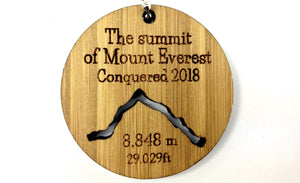 """The Summit of Mount Everest Conquered 2018"" Bamboo Keyring."