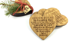 Family Rules Heart Shaped Bamboo Drinks Coasters