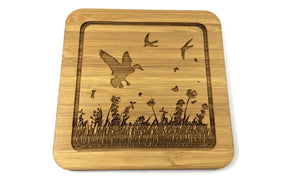 Bird Of Prey Bamboo Drinks Coaster Design