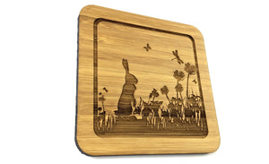 Rabbit In Grass Drinks Coaster Design