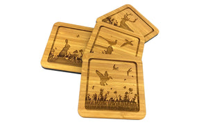 Bamboo Drinks Coasters With Wildlife Designs