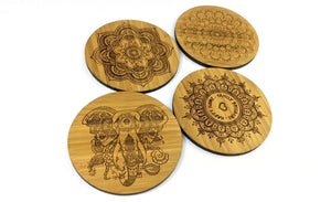 Mandala Art Solid Bamboo Drinks Coasters Set
