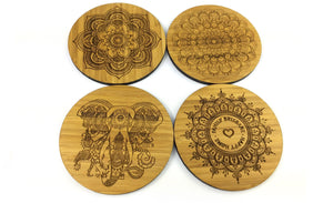 Set of four Drinks Coasters engraved with Mandala Like Art