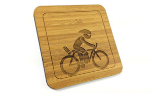 Cyclist Bamboo Drinks Coaster