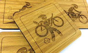 Cyclist Carrying Bike Bamboo Drinks Coaster Design