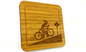 Cyclist Uphill Ride Drinks Coaster