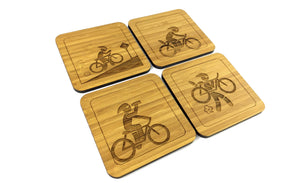 Set of Four Drinks Coasters Engraved With A Cycling Adventure Theme