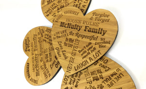 Family Drinks Coasters With Personal Family Names On
