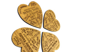 Heart Shaped Drinks Coasters made from bamboo