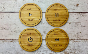 Play, Pause, Stop and Rewind Bamboo Coffee and Tea Coaster Set