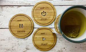 Play, Pause, Stop and Rewind Drinks Coasters Set to protect your furniture