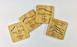 National Three Peaks Drinks Coasters Made From Eco Friendly And Sustainable Bamboo