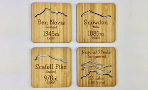 Four Drinks Coasters With National Three Peaks Design