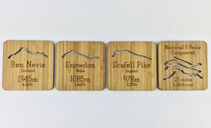 National Three Peaks Drinks Coaster Set, Ben Nevis, Snowdon, Scafell Pike