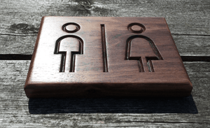 Water Closet Walnut Sign