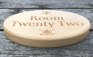 Solid Oak Oval Hospitalities Sign for Room Twenty Two Natural Finish Plaque