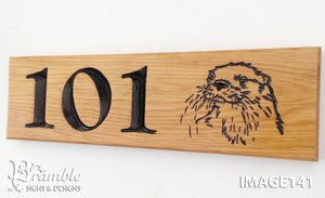 Number Sign - Long Thin - 380 x 110mm - Bramble Signs Engraved Wall Mounted & Freestanding Oak House Signs, Plaques, Nameplates and Wooden Gifts