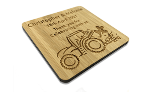 Tractor Thank You For Attending My Wedding that Farmers Love Drinks Coaster Made From Solid & Sustainable Bamboo