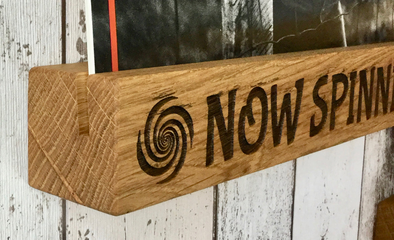 Solid Oak Engraved Now Spinning Vinyl Record Display Stand