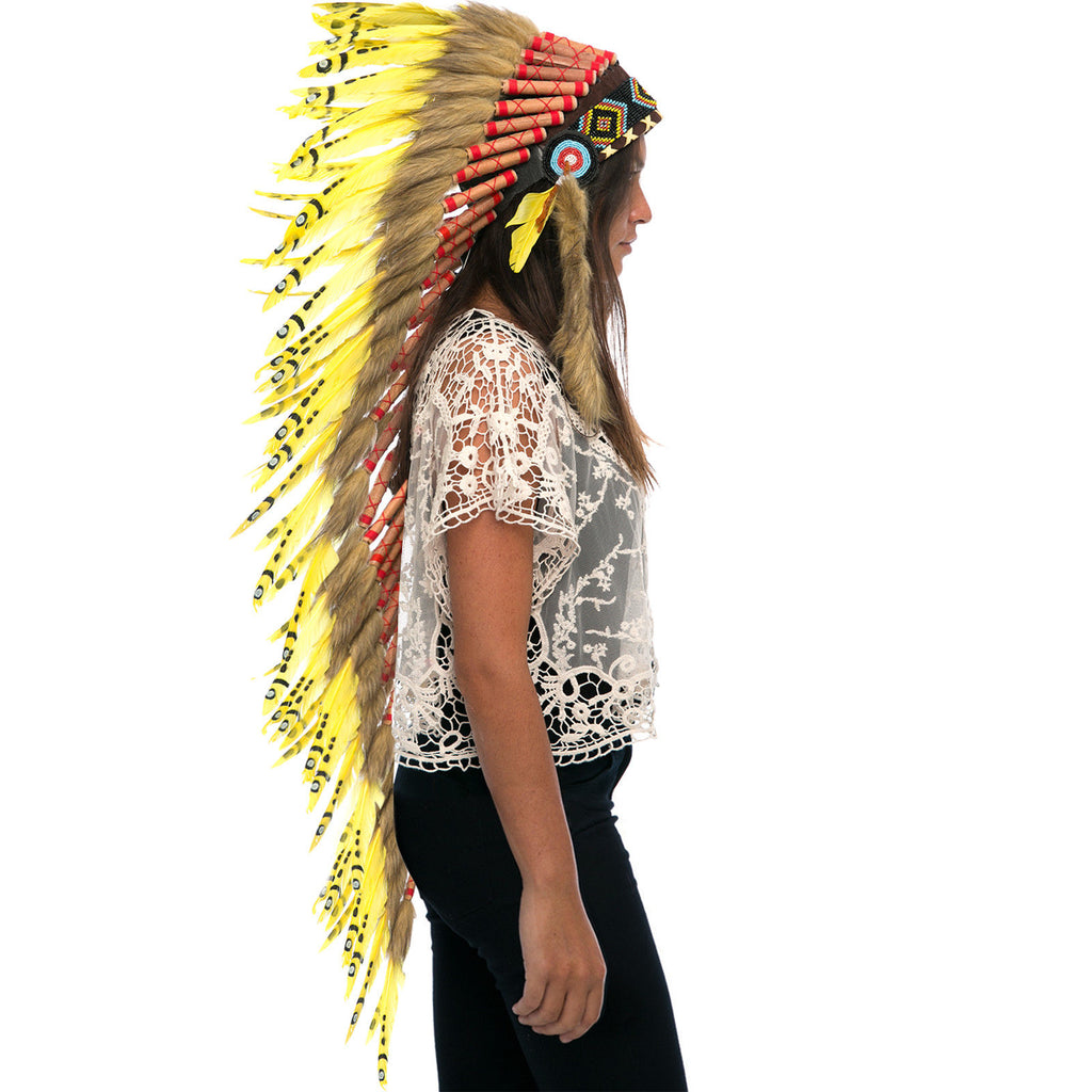 Extra Long Native American Indian Style Headdress - ADJUSTABLE - Yellow Duck
