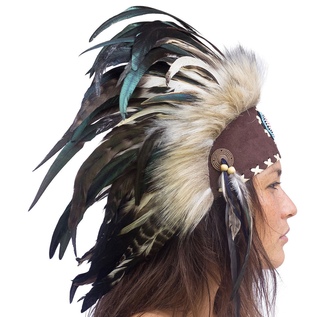 Mini Feather Headdress- Indian American Style - Natural with beads