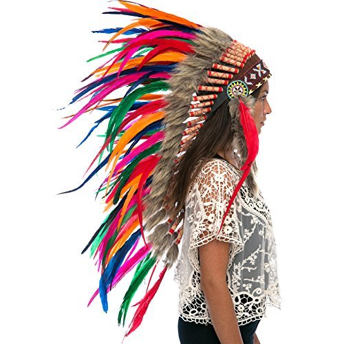 Long Feather Headdress- Native American Indian Style -ADJUSTABLE- Rainbow
