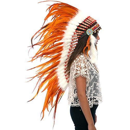 Long Feather Headdress- Native American Indian Inspired - Full Orange
