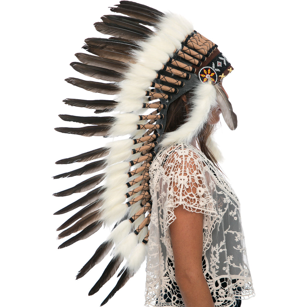 Long Feather Headdress- Native American Indian Inspired -ADJUSTABLE- Black Duck