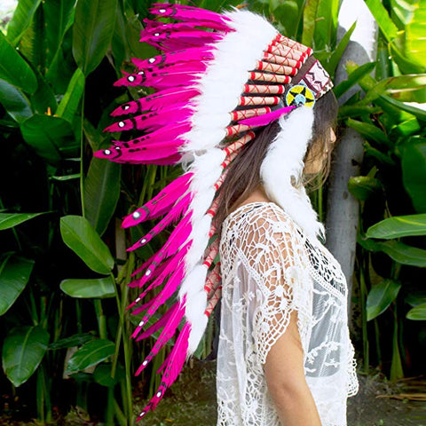Long Native American Headdress Replica - Pink Duck - CLEARANCE!