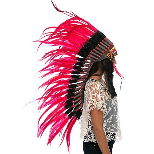Long Feather Headdress- Native American Indian Inspired -ADJUSTABLE- Red Rooster