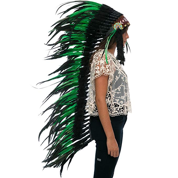 Extra Long Indian Headdress Replica - Green-Black Rooster - CLEARANCE!